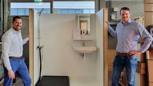 Samenwerking Sanura douchewarmtewisselaar & Intersell circulaire badkamer